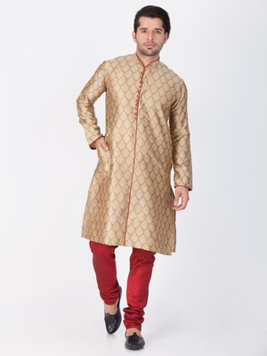 Men Beige Cotton Silk Kurta And Pyjama Set