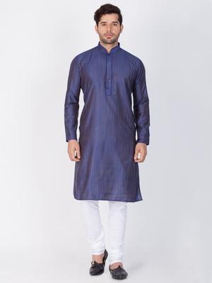 Men Blue Cotton Silk Kurta And Pyjama Set