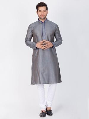 Men Grey Cotton Silk Kurta And Pyjama Set