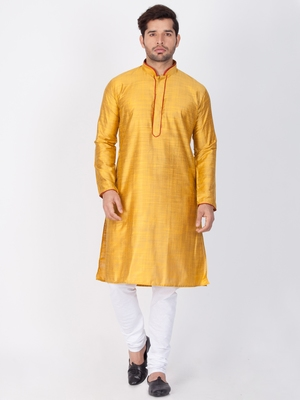 Men Yellow Cotton Silk Kurta And Pyjama Set