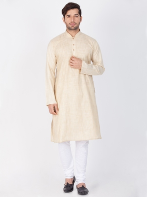 Men Beige Cotton Kurta And Pyjama Set
