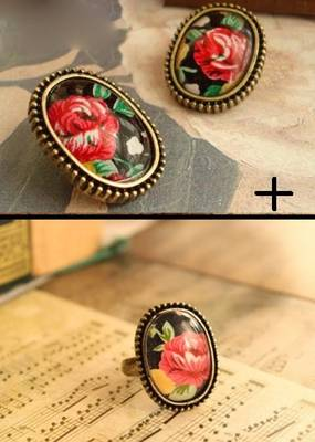 Floral Earrings and Ring Combo