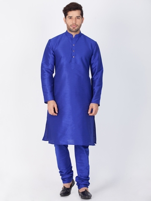 Men blue cotton silk kurta and pyjama set