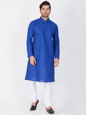 Men Blue Linen Kurta And Pyjama Set