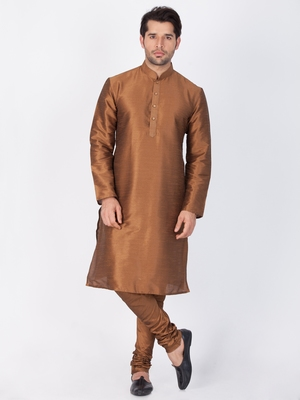 Men brown cotton silk kurta and pyjama set