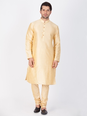 Men gold cotton silk kurta and pyjama set