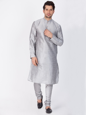 Men Grey Cotton Silk Kurta And Pyjama Set