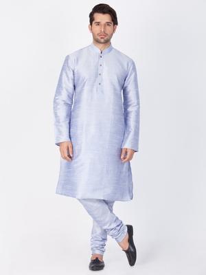 Men Light Blue Cotton Silk Kurta And Pyjama Set