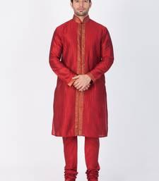 Buy Men maroon cotton silk kurta and pyjama set kurta-pajama online