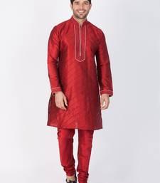Men maroon cotton silk kurta and pyjama set
