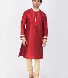 Buy Men maroon cotton silk kurta and pyjama set women-ethnic-wear online