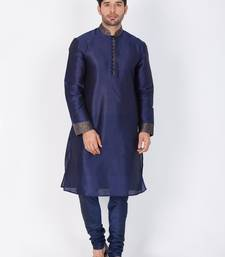 Buy Men blue cotton silk kurta and pyjama set women-ethnic-wear online