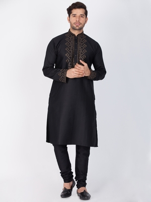 Men Black Cotton Kurta And Pyjama Set