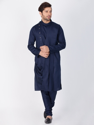 Men Blue Cotton Kurta And Pyjama Set
