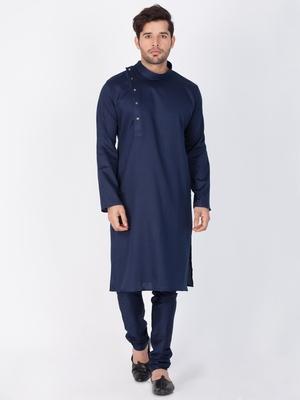 Men Blue Cotton Kurta And Pyjama Set