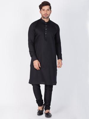 Men black cotton kurta and pyjama set