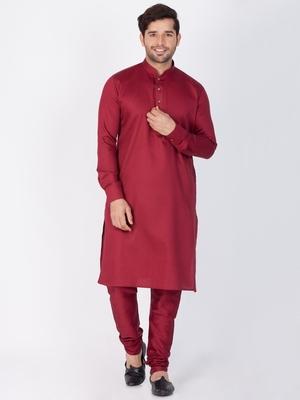 Men Maroon Cotton Kurta And Pyjama Set