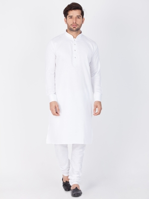 Men White Cotton Kurta And Pyjama Set