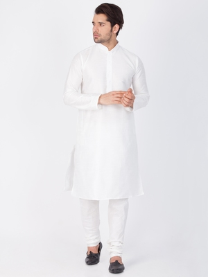 Men White Cotton Silk Kurta And Pyjama Set