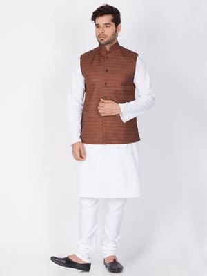 Men White Cotton Kurta Modi Jacket And Pyjama Set