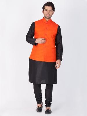 Men Black Cotton Silk Kurta Modi Jacket And Pyjama Set