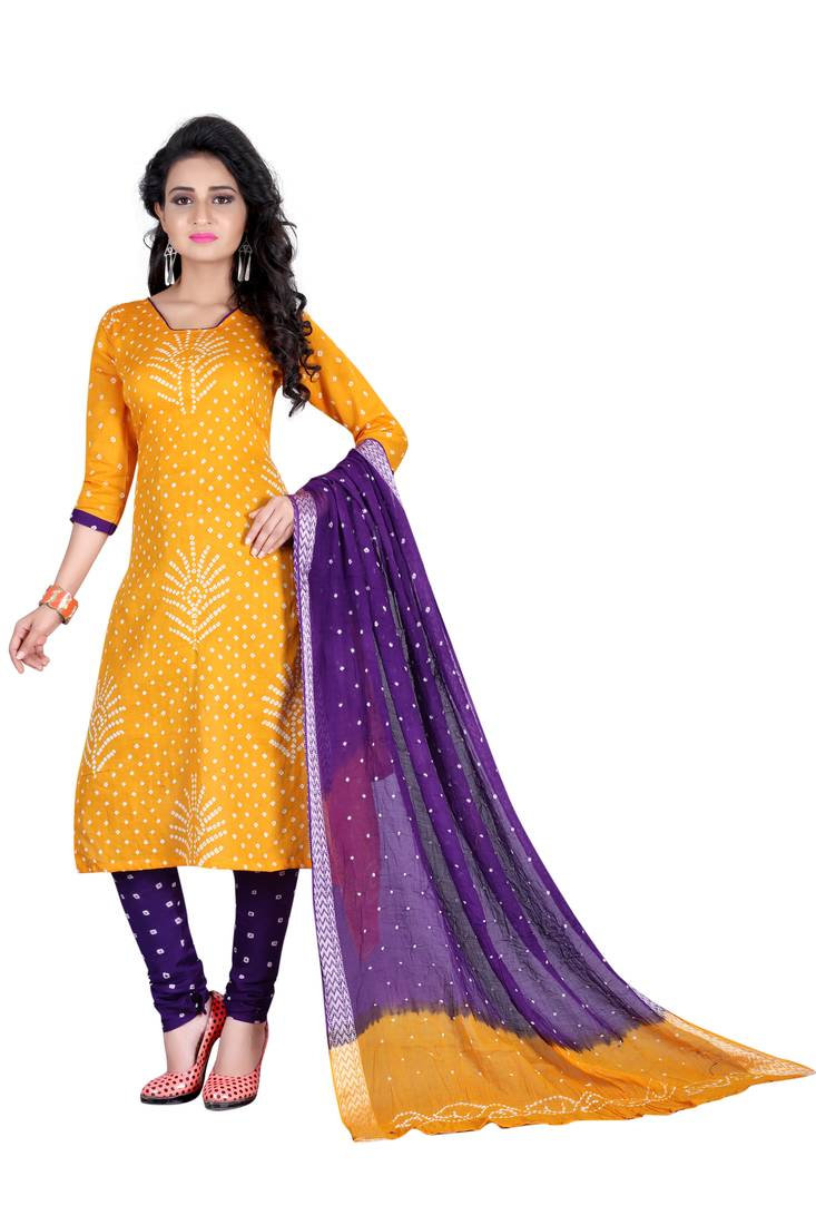 3c52af67e0 Yellow Color Bandhej Satin Cotton Salwar Suit Dupatta Bandhani Dress  Material ...