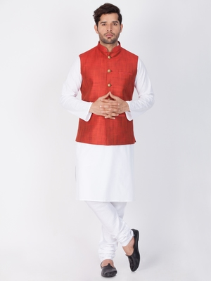 Men White Cotton Kurta Modi Jacket And Pyjama Set