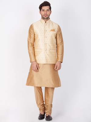 Men Gold Cotton Silk Kurta Modi Jacket And Pyjama Set