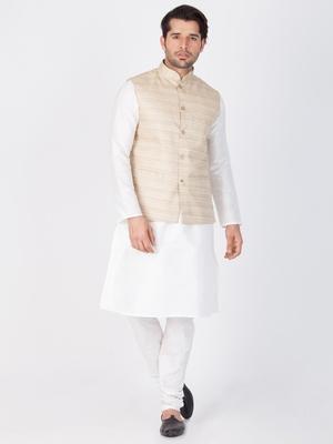 Men White Cotton Silk Kurta Modi Jacket And Pyjama Set