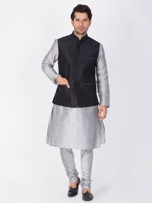 Men Grey Cotton Silk Kurta Modi Jacket And Pyjama Set