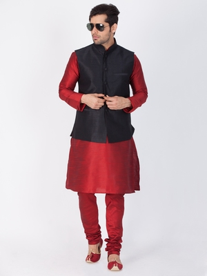 Men Maroon Cotton Silk Kurta Modi Jacket And Pyjama Set