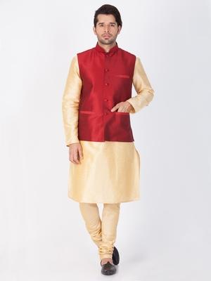 Men Gold Cotton Silk Kurta Modi Jacket And Pyjama Set