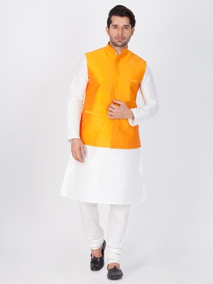 Men white cotton silk kurta modi jacket and pyjama set