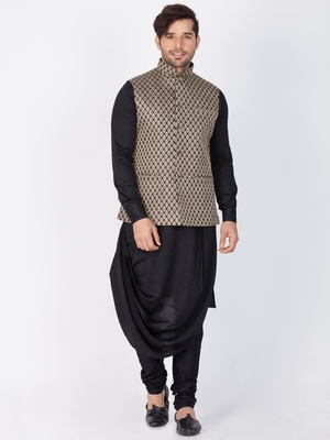 Men Black Cotton Kurta Modi Jacket And Pyjama Set