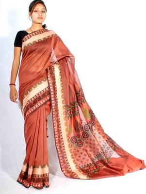 Supernet fancy Cotton Border printed pallu saree