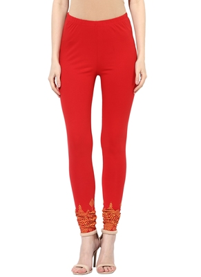 Mytri Women's Red Cotton Lycra Knitted Printed Slim Fit Leggings