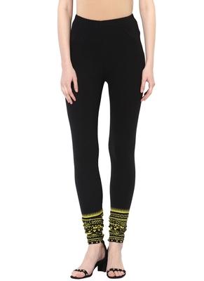 Mytri Women's Black Cotton Lycra Knitted Printed Slim Fit Leggings