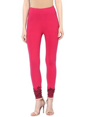 Mytri Women's Rani Pink Cotton Lycra Knitted Printed Slim Fit Leggings