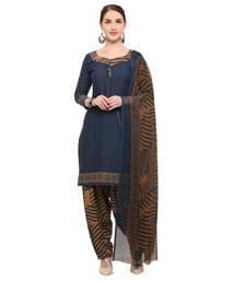 Buy Navy-blue abstract print crepe salwar crepe-salwar-suit online