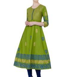Mehendi Green Cotton Block Prints Long Anarkali kurti