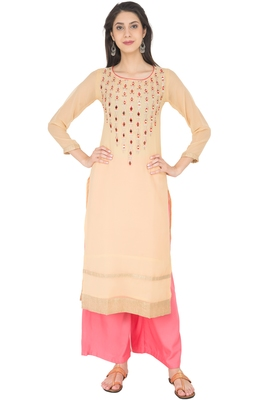 Beige Georgette Embroidery Long Straight kurti
