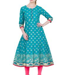 Green Cotton Block Prints Long Anarkali kurti