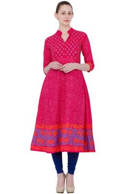 Pink Cotton Block Prints Long Anarkali kurti