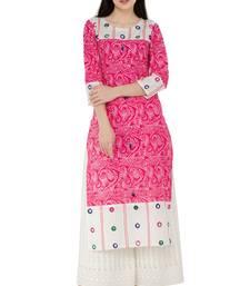 Pink Cotton Block Prints with Aari Embroidery Long Straight kurti