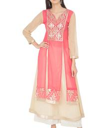 Multicolor Georgette Gota Embroidery Long Straight kurti