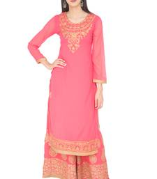 Buy Pink Georgette Dori Embroidery Long Straight kurti women-ethnic-wear online