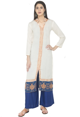 Off-White Georgette Embroidery Long Straight Kurti