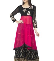 Black & Pink Georgette Embroidery Long Anarkali kurti