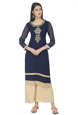 Navy Blue Georgette Aari Embroidery Long Straight kurti