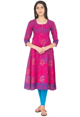 Pink Cotton Screen Prints Long Anarkali kurti